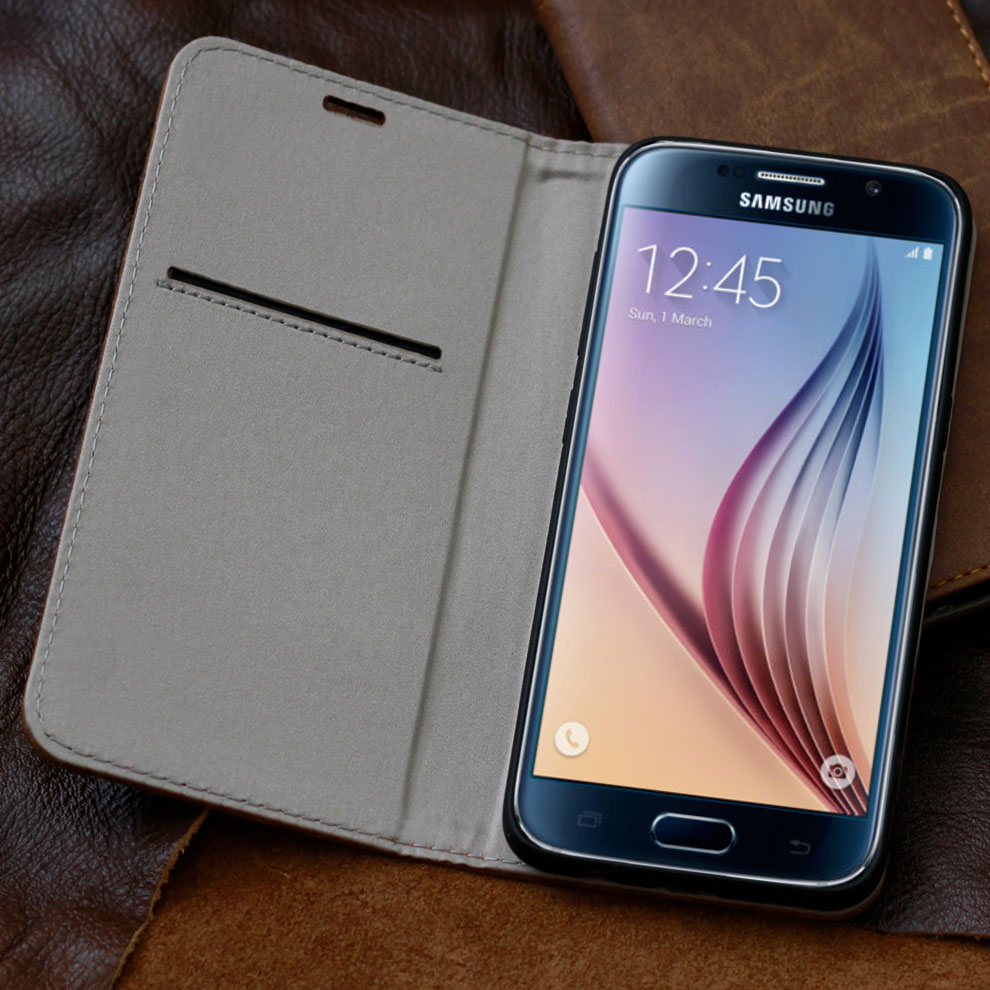 luxus leder schutzh lle f r samsung galaxy s7 smartphone tasche case cover etui ebay. Black Bedroom Furniture Sets. Home Design Ideas